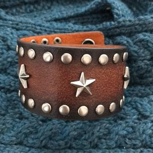 Brown Leather Cuff with Silver Embellishment